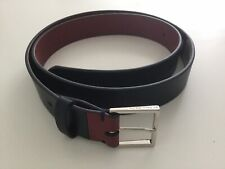 """PAUL SMITH MEN'S CITY EMBOSSED BLACK LEATHER BELT CONTRAST TAB 34"""" NWT RRP £115"""