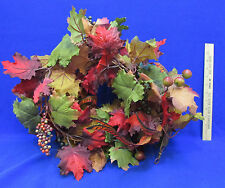 Artificial Garland Floral Decor Fall Autumn Maple Leaves Pheasant Feathers 6'