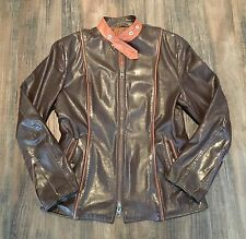 BRIMACO Vintage 60's Women's Racer Leather Motorcycle Jacket Brown RARE • MEDIUM