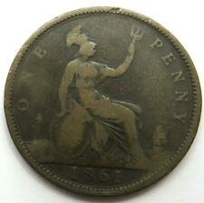 1861 Queen Victoria 1d One Penny Coin Great Britain..