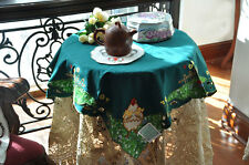 Country Style Chicken Applique Embroidery Cutwork Deep Green Table Cloth