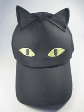 Cat Ears Eyes Glow in the Dark Black Adjustable Baseball Cap Hat Great Condition