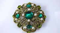 Vintage Emerald Green Peridot Rhinestone Brooch Pin Faux Pearls Ornate Gold Tone