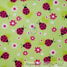 BonEful Fabric FQ Cotton Flannel Quilt Green Pink B&W Ladybug Flower Heart Dot L