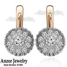0.90 cwt. 14k Solid Rose and White Gold Genuine Diamond Malinka Earrings #E1363