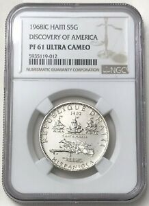 1968 Silver Haiti 5 Gourdes Columbus Discovery of America Coin NGC Proof 61 UC