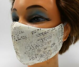 Book Page Print Washable Cloth Face Mask, Reusable Cotton Facial Cover Literary
