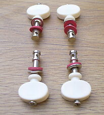 Set of 4 Ukulele Tuning Pegs Four Cream-Coloured Red Rubber Washers Friction Peg