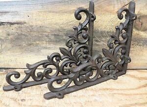 """Set of 2 Cast Iron Shelf Brackets New Antique-Style Fleur-de-lis 9"""" x 7.5"""""""