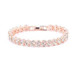 Ladies Silver Crystal Rhinestone Bangle Bracelet Wedding Bridal Jewelry Diamond