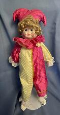 Porcelian Clown Jester Doll, 18�, Vintage Hand Painted