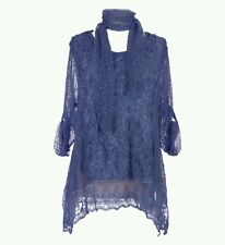 Women's New Italian Lagenlook Quirky Tops with Scarf lace flowers work Blouse