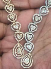 Pave 9.20 Cts Round Brilliant Natural Diamonds Necklace Earrings Set In 14K Gold