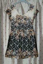 TOPSHOP  Ladies Floral Lined Lace Short A Line Dress ~ Size 12