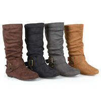 Journee Collection Womens Wide Calf Buckle Slouch Mid Calf Boots New