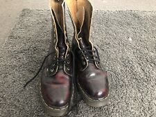 Dr. Martens Unisex Lace Up Cherry Red Smooth Leather Boots Shoes Size UK 5 EU38