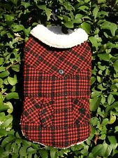 "Hotel Doggy Winter Coat Fleece Red Black Large 17""-19"" NWT"