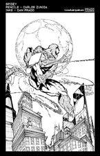Dan Prado- PradoInkworks Signed Spider-Man Moon Black and White Print