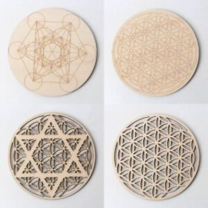 Geometric Sacred Wooden Grid Board Crystal Healing Meditation Decoration Crafts