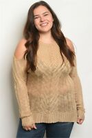 Womens Plus Size Khaki Cold Shoulder Knit Sweater 2X 3X NWT