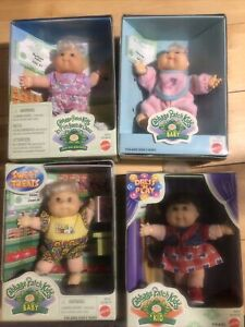"""Lot of 4 Cabbage Patch Kids """"Kid"""" & """"Baby""""  Collectible 5"""" Dolls 1997 New In Box"""