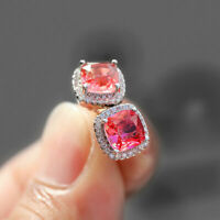 Luxury Princess Rainbow Topaz Square Stud Earrings 925 Silver Tourmaline Jewelry