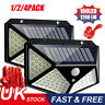 UK 100LED Solar Power Light PIR Motion Sensor Security Outdoor Garden Wall Lamp