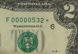 1995 $2 STAR Note LOW Serial number THREE DIGIT PCGS 64 PPQ ( 00000534*)