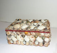 Vintage Hand Made old Sea Shell Trinket Box Felt Lined