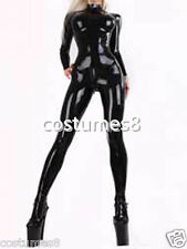 100%Latex Rubber Handsome Catsuit Black Full-body Bodysuit Suit Sizes XS-XXL