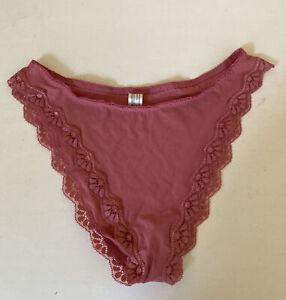Vintage MAIDENFORM Satin Hi-Leg Panties Scalloped Lace Pink Size 8 L/XL