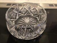 Heavy Lead Crystal Fruit/Trifle Bowl Star Burst Cut With Fluted Edge C 1960