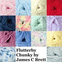 James C Brett Flutterby Chunky Knitting Wool Yarn Super Soft Acrylic 100g Balls