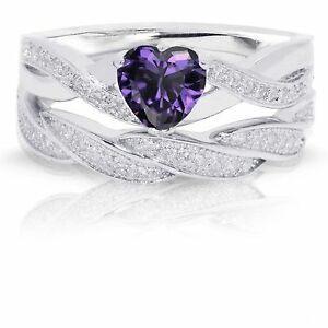Infinity Celtic Amethyst Heart Engagement Wedding Sterling Silver Ring Set