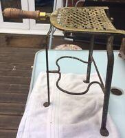 Antique Georgian Brass Cooper Trivet Hearth Fireside Stand Tall Wooden Handle