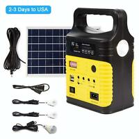 Solar Generator Lighting Home System Kit 12V 10W with Solar Panel USB Lamps