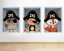 G725 Pirate Animals Boys Nursery Window Wall Decal 3D Art Stickers Vinyl Room
