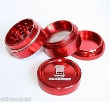 Head Chef Small Grinder Herb Spice Red 30mm 4 Part Aluminium Metal