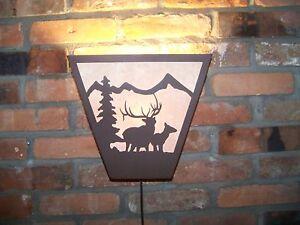 Laser Cut Steel 6pt BULL & COW ELK ANYWHERE SCONCE PAIR  Lamp cabin home decor