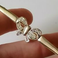 Vintage Gold Tone Metal Clear Rhinestone Sweetheart Bow Bar Brooch Pin Gift