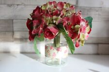 New Artificial Floral Arrangement of Pink Roses and Hydrangea with Glass Jar