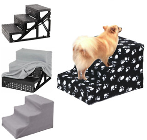 3 Steps Soft Stairs Washable Doggy Pet Dog Ladder Puppy Cover Ramp Folding New