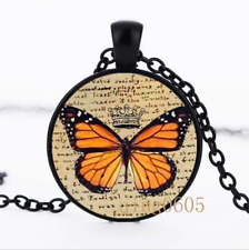 Charlotte's Butterfly photo Glass Dome black Chain Pendant Necklace wholesale