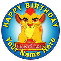 """THE LION GUARD KION PARTY - 7.5"""" PERSONALISED ROUND EDIBLE ICING CAKE TOPPER"""