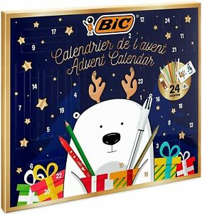 Christmas Advent Calendar BIC Stationery Set Stickers Pen Pencils Colouring Card