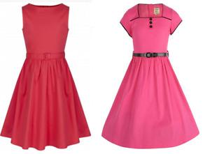 'MINI BELLA' RASPBERRY DRESS & 'MINI AUDREY' PASTEL RED DRESS - New