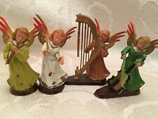 "Vintage Angels Musical Figurine Christmas Orchestra Set Lot 4 Hong Kong 2"" Plus"