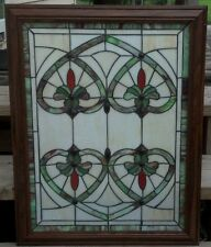 Stained Glass Green White Window Heart Designs Wood Frame Cabin Lodge Den Decor