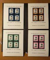 NICARAGUA J F KENNEDY SOUVENIR SHEETS (4) - MNH