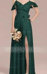 BNWT JJ's Bridesmaid Dress Emerald Dark Green Maxi Wedding Shoulder Sleeve UK16